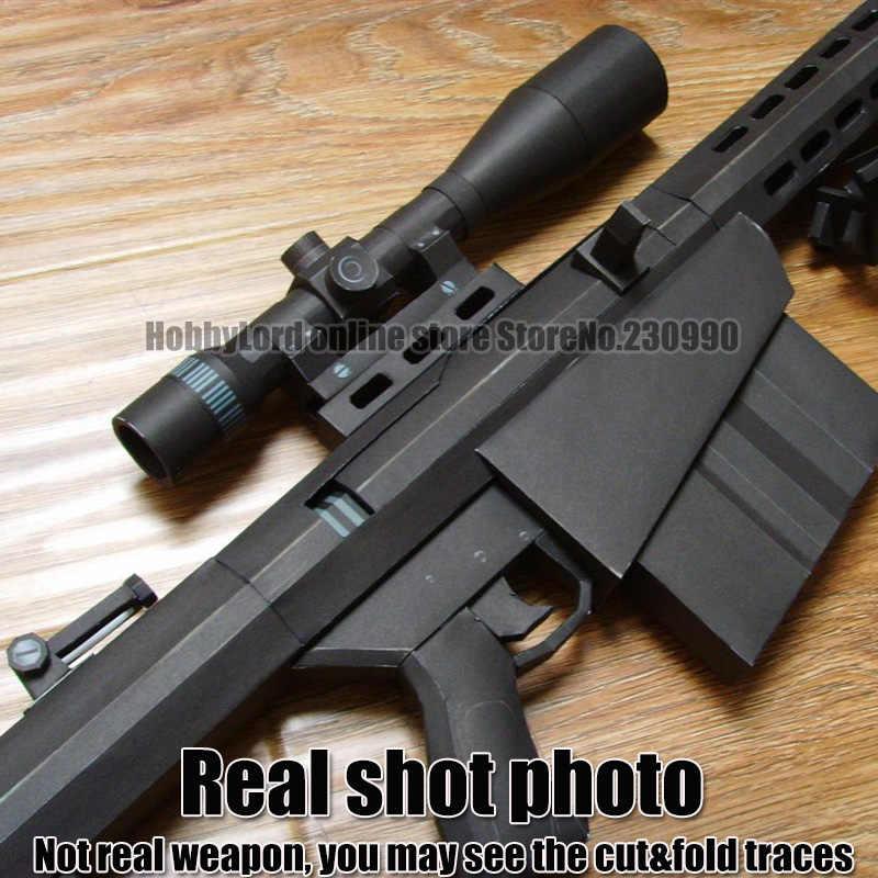 """100% neue Skaliert Barrett M82A1 12,7mm Sniper Gewehr 3D Papier Modell Cosplay waffe Kid Erwachsene """"Gun Waffen Papier Modelle gun Spielzeug"""