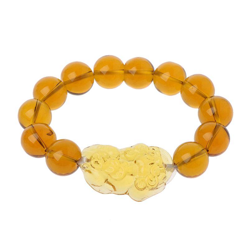 14mm Pi Yao Bracelet perles jaunes nouveauté prix de gros Feng Shui cristal jaune Pi Xiu Xie Bracelet pour la richesse
