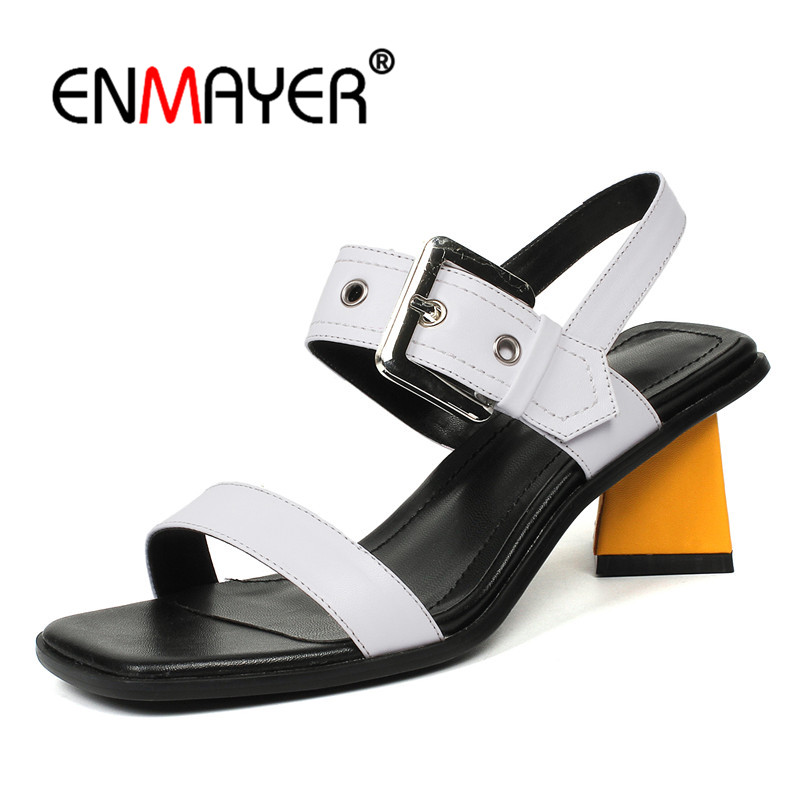 ENMAYER Genuine Leather Woman Med heels Sandals Buckle strap Shoes Size 34-39 Causal Summer Ladies party shoes Thick heels CR804