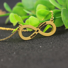 925 Solid Silver Engraved Two Names Infinity Pendant Necklace Hollow Heart Customized Jewelry Wholesale
