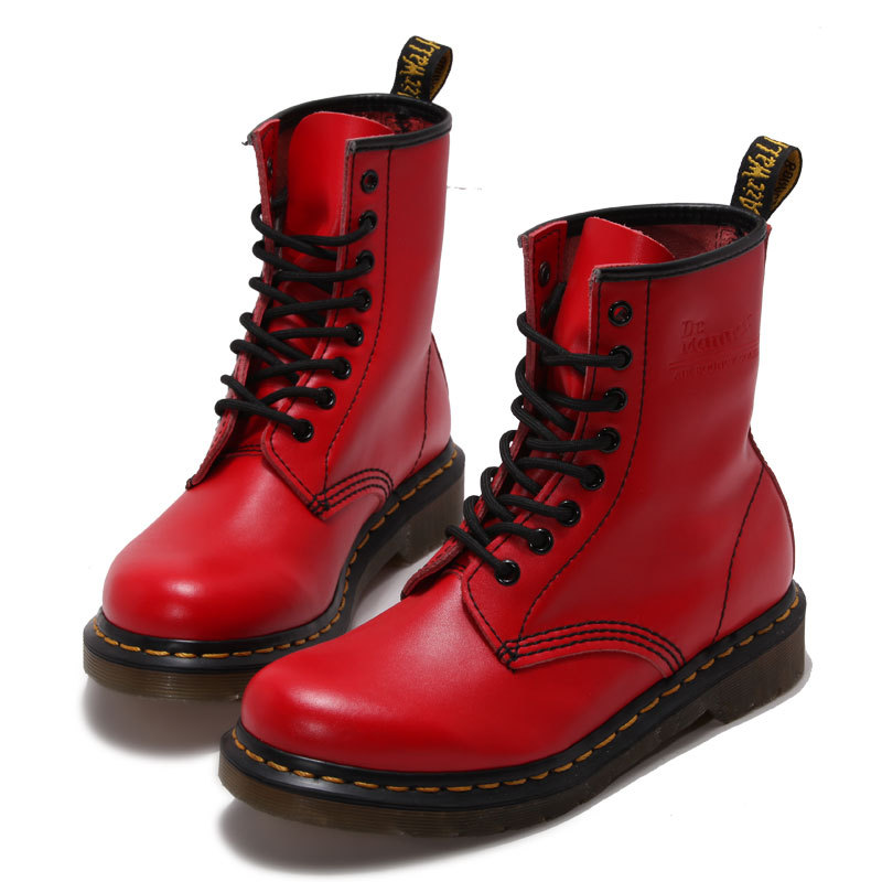 ФОТО Genuine Leather Red Martin Boots Shoes Women's Motorcycle Boots Spring Lace up Winter Red Ankle Boots Shoe 2017