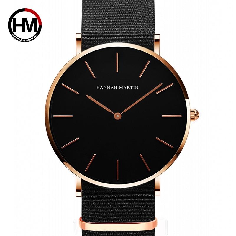 HANNAH MARTIN Brand Watches Women Fashion Luxury Clock Unisex Nylon Mens Quartz Simple Ultra Thin Wristwatch Relogio Masculino