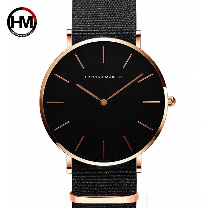 HANNAH MARTIN Marca Relógios Das Mulheres Moda De Luxo Relógio Unissex Nylon Mens de Quartzo Simples Ultra Fino relógio de Pulso Relogio masculino