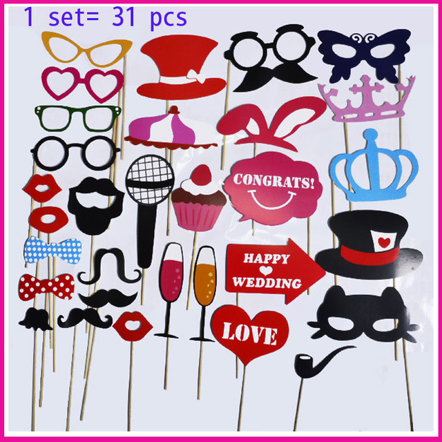 1set 31pcs Diy Wedding Birthday Photo Booth Props On A Stick
