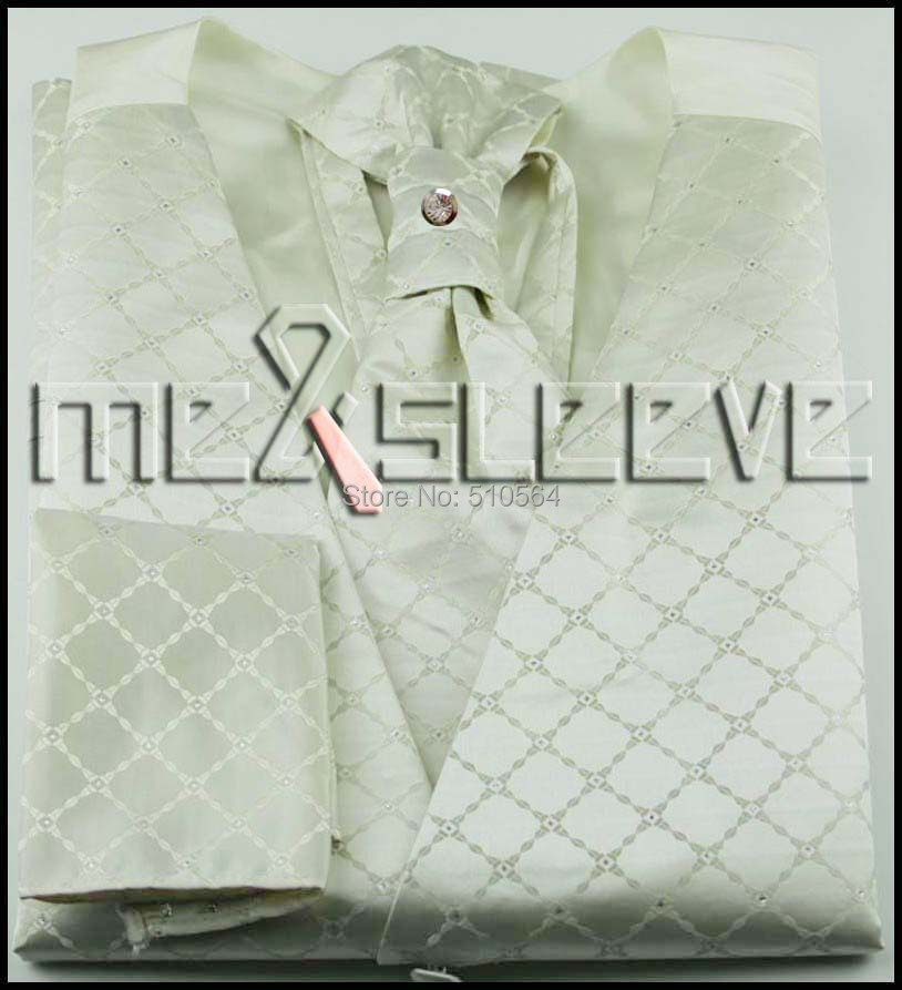 Wholesale Free shipping Single Breast Men Vest Waistcoat Ivory Grid pattern Vest(vest+bowtie+Handkerchief+cufflinks)