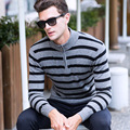 Winter Manufacturers Selling Men's Striped Cashmere Sweater Fashion Leisure Warm Sweater High Zippers Collar Men's Clothing