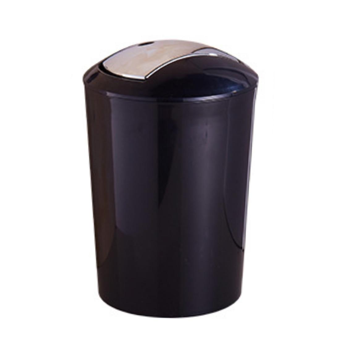New Hot 10L European Brief Style Garbage Press Type Can Plastic Trash Waste Storage Bin with Lid Garbage Dark Black L