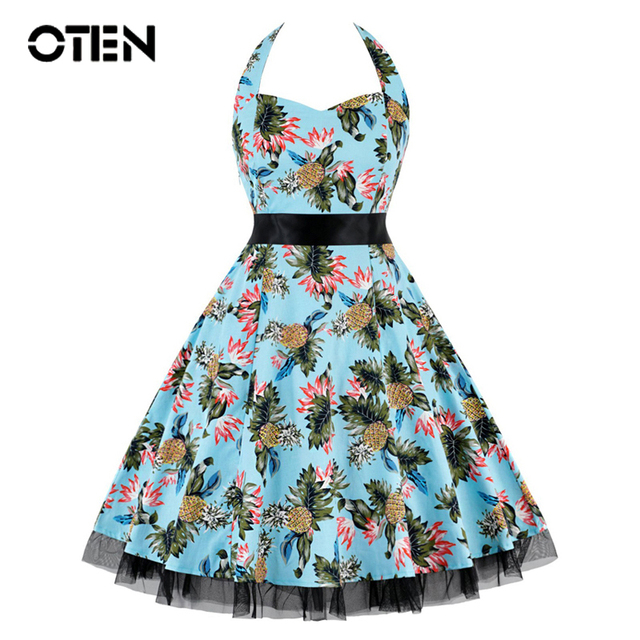 OTEN 4XL Vestido De Festa Women Print Swing Skull Floral Lace Patchwork Polka Dot retro vintage Rockabilly Dress Summer clothes