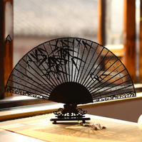 Exquisite Carved Ebony Wooden Fans For Wedding Adult Calligraphy Painting Fine Art Hand Fan Craft Gift To Send Foreigners LF372