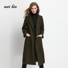Women's Overcoat 2017 Autumn Winter Mohair and woollen coat Turn-Down Collar with pockets belt Soft Coat Outwear Clothing