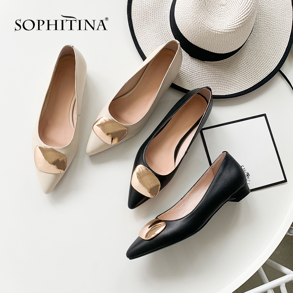 SOPHITINA Fashion Pointed Toe Flats Comfortable High Quality Genuine Leather Casual Shoes Slip on Metal Decoration