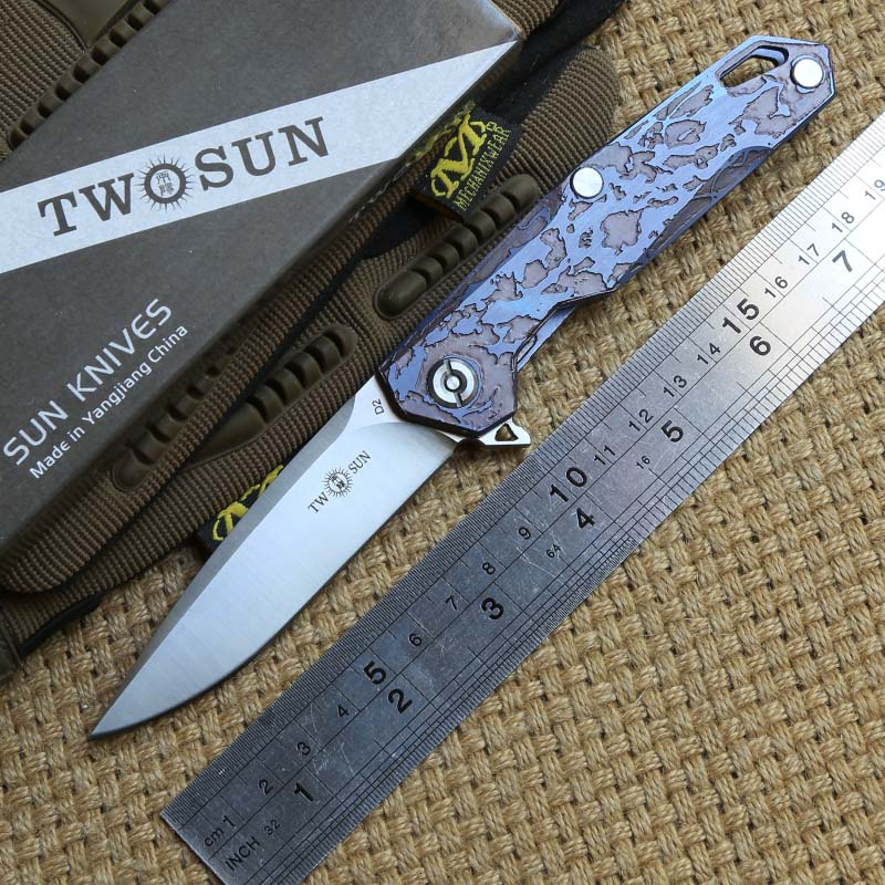 TWO SUN TS21 D2 blade Tactical ball brearing folding knife titanium handle hunting Pocket knives outdoor gear Survival EDC Tools