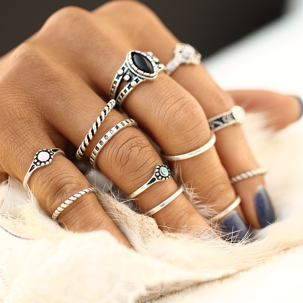 17KM Design Vintage Punk Midi Rings Set Antique Gold Color Boho ...