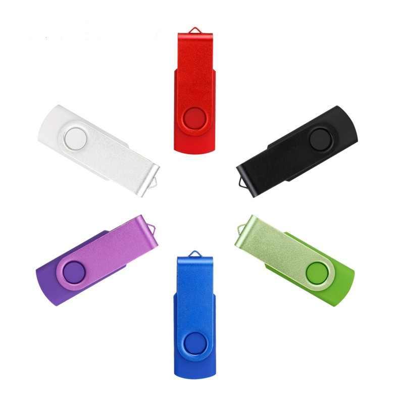 USB 2.0 128GB USB Flash Drive 64GB Warna-warni Pen Drive 32GB Memutar Kunci Flashdisk 16GB memoria Tetap 8GB 4GB Logo Kustom Gratis