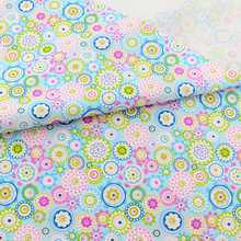 Blue Flower Cotton Fabric Quilting Patchwork Scrapbooking Home Textile Decoration Bedding Clothing Doll Sewing Cloth Teramila