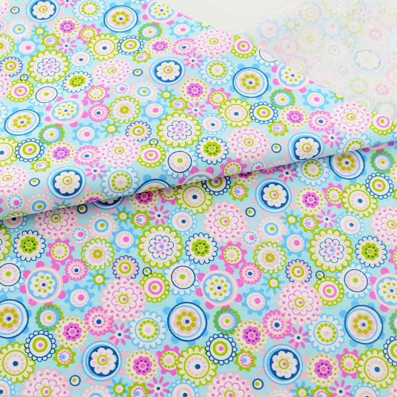 Fiore blu Tessuto di Cotone Patchwork Quilting Scrapbooking Tessili Per La Casa Biancheria Da Letto Decorazione Abbigliamento Bambola di Stoffa Da Cucire Teramila