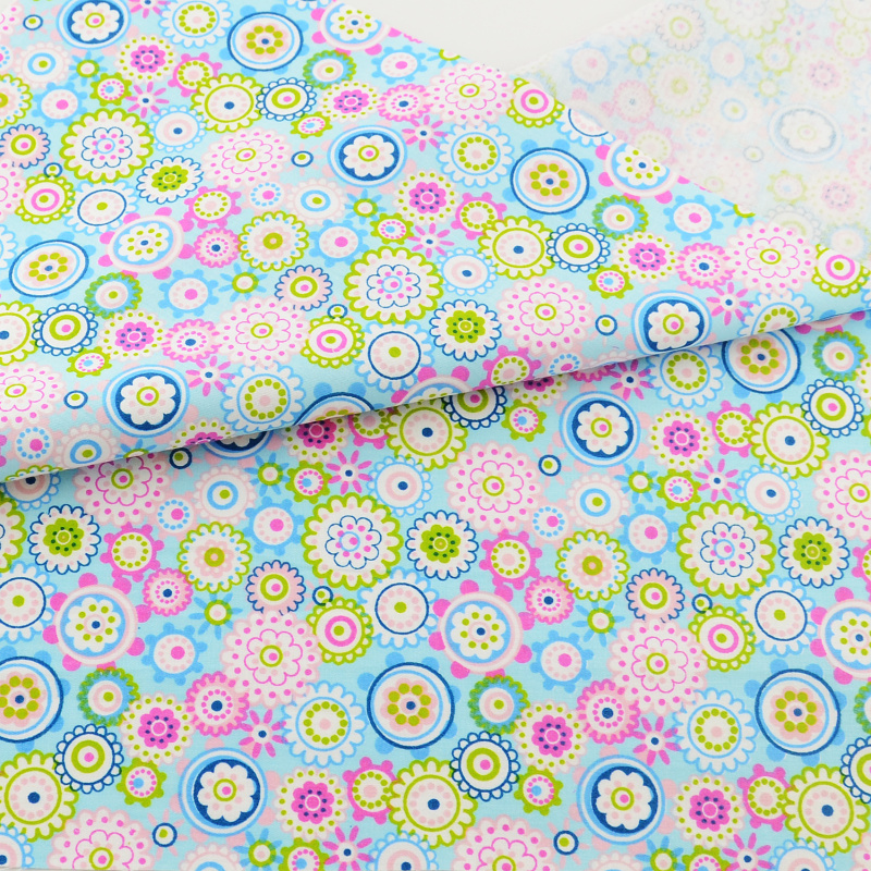 Teramila Blue Flower Cotton Fabric Quilting Telas Por Metro Patchwork Algodon Home Textile Bedding Clothing Dress Sewing Tissu