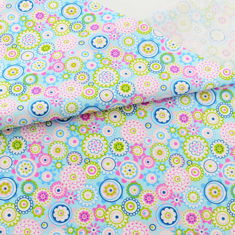Teramila niebieski kwiat tkanina bawełniana pikowanie Telas Por Metro Patchwork Algodon pościel domowa odzież sukienka szycie Tissu