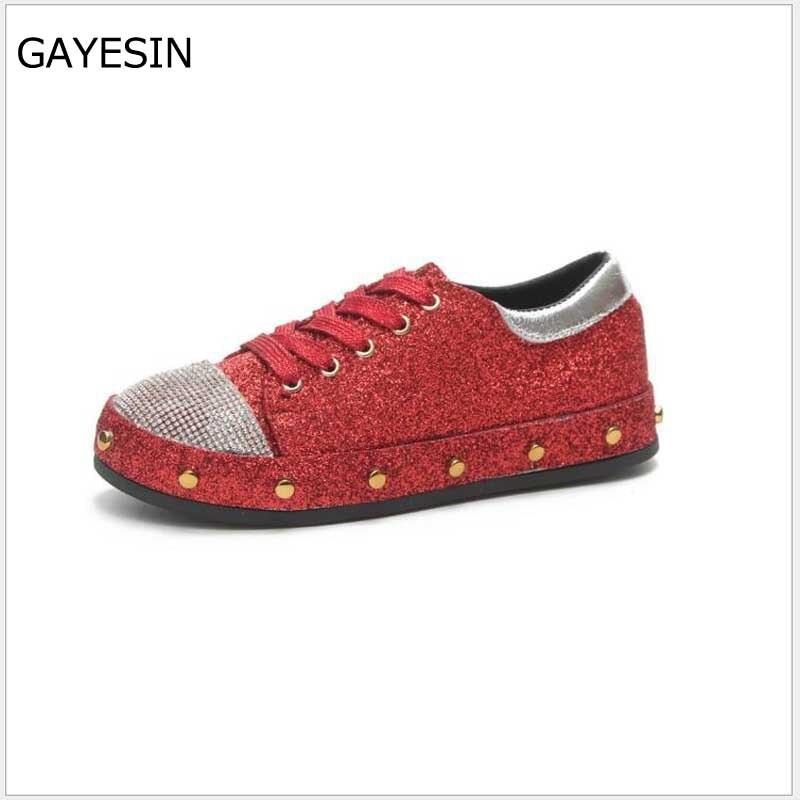 Zapatillas de moda de las mujeres planas talón Rhinestone zapatos - Zapatos de mujer