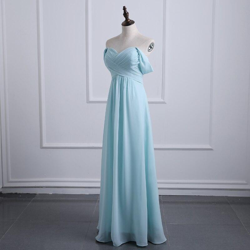 Robes de demoiselle d'honneur bleu ciel clair 2017 une ligne en mousseline de soie hors de l'épaule robes de mariée invités robes pas cher robes ZD009
