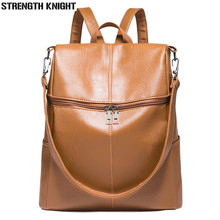 Simple Style Backpack Fashion Women PU Leather Backpacks For Teenage Girls School Bags Vintage Solid Black Shoulder Bag недорого