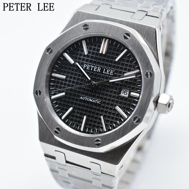 بيتر لي ماركة فاخرة الكامل للصدأ فضة ماء التلقائي الساعات الميكانيكية الرجال الساعات سوار الطلب 40 ملليمتر الأزياء الأعمال-في الساعات الميكانيكية من ساعات اليد على  مجموعة 1