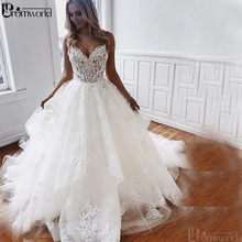 Romantic A-line Wedding Dresses 2019 V-neck Appliques Lace Spaghetti Straps Vestido De Novia White Ivory Bridal Gowns