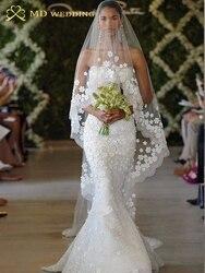 2018 Véu de Noiva Branco/Marfim 3 m Longo Véu De Noiva Mantilha Acessórios Do Casamento Véu De Noiva Com Flores de Renda beadwork MD3053