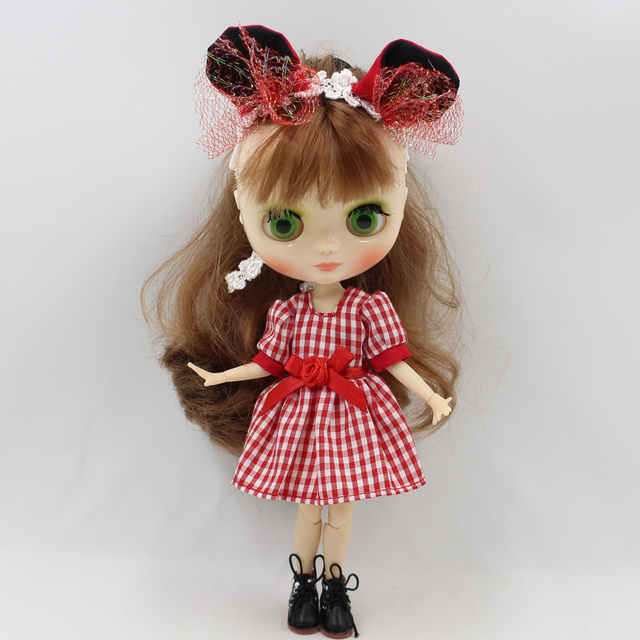 Middie Blythe Doll Red Plaid  Dress With Hairband