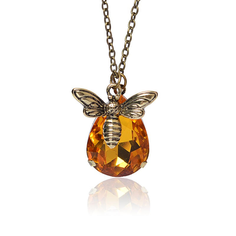 Lovely Creative Dainty Animal Bumble Bee <font><b>Fans</b></font> Honey Crystal Copper Pendant Necklace <font><b>Jewelry</b></font> For Lover Birthday Friends image