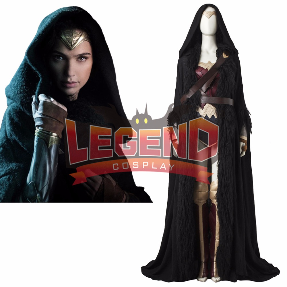 Wonder Woman Cosplay Cloak Costume Diana Prince Cosplay Black Cape belt robe