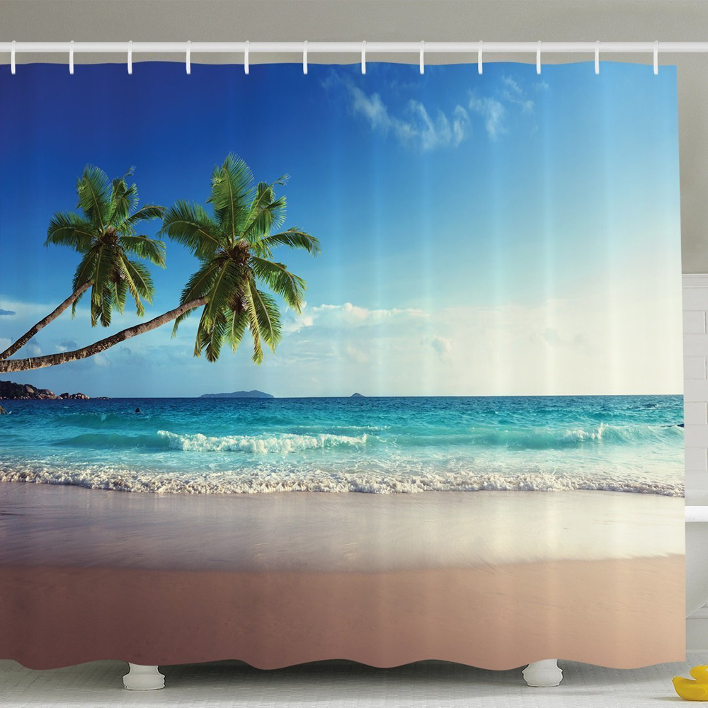 Nautical Shower Curtain Palm Tree Decor Tropical Island Scenery Beach Waves and Sand Picture Polyester Bathroom Set with Hooks