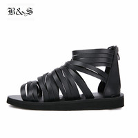 Black& Street 2018 Summer Genuine Leather Cross Tied Rome Gladiator Men Sandals Luxury Handmade Sandals