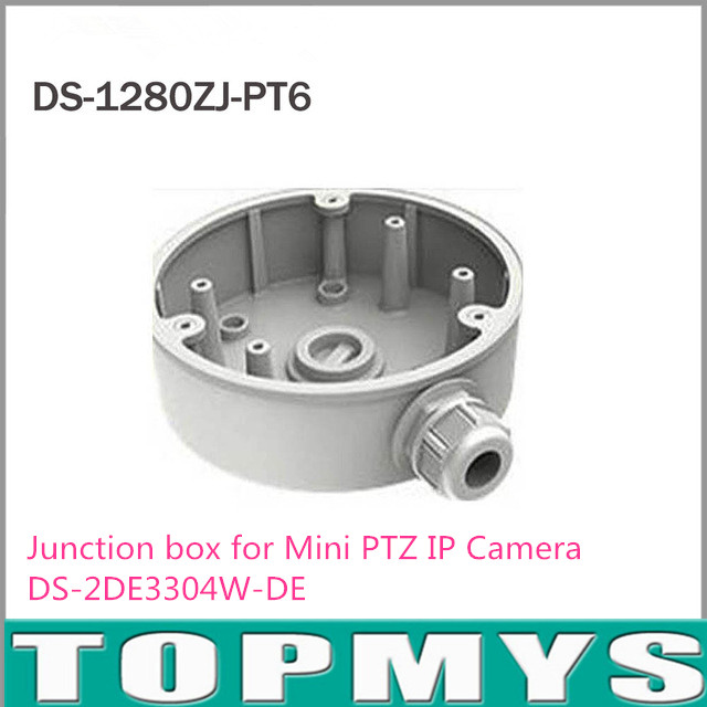 Free Shipping Wall Mount Bracket Junction box DS-1280ZJ-PT6 for Mini PTZ IP Camera DS-2DE3304W-DE ds 1602zj box pole ptz camera vertical pole mount bracket with junction box