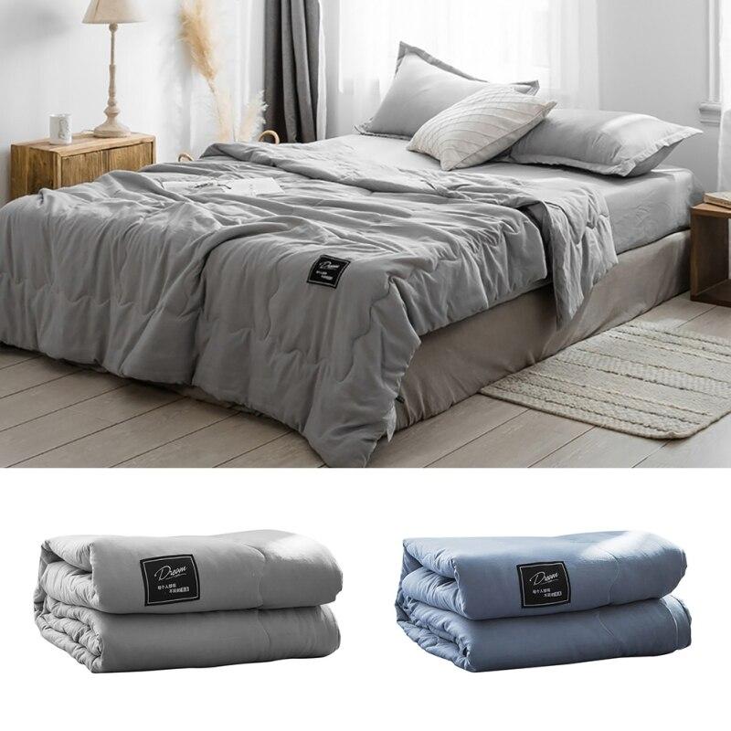 Nordic Color Summer Quilt Cooling Quilt Washable Bedding Blanket Comforter Throw Blanket Washed Cotton Lightweight Thin Blanket