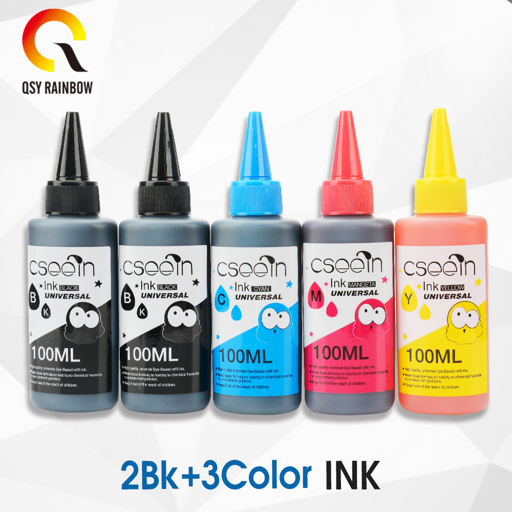 5 PK Color Dye Refill Ink Replacement For HP Kit 100ML Bottle ink for Epson Premium for Canon Inkjet Printer For Brother 6 color 1000ml printing bulk dye ink refill kit for fuji dx100 inkjet printer