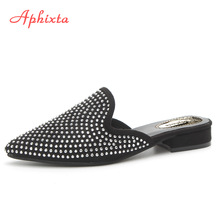 Aphixta Women Papule Crystal Sequined Tkanina Žene Sandale Pointed Toe Square Peta Bling Loafers Mules Ljeto Ladies Shoes