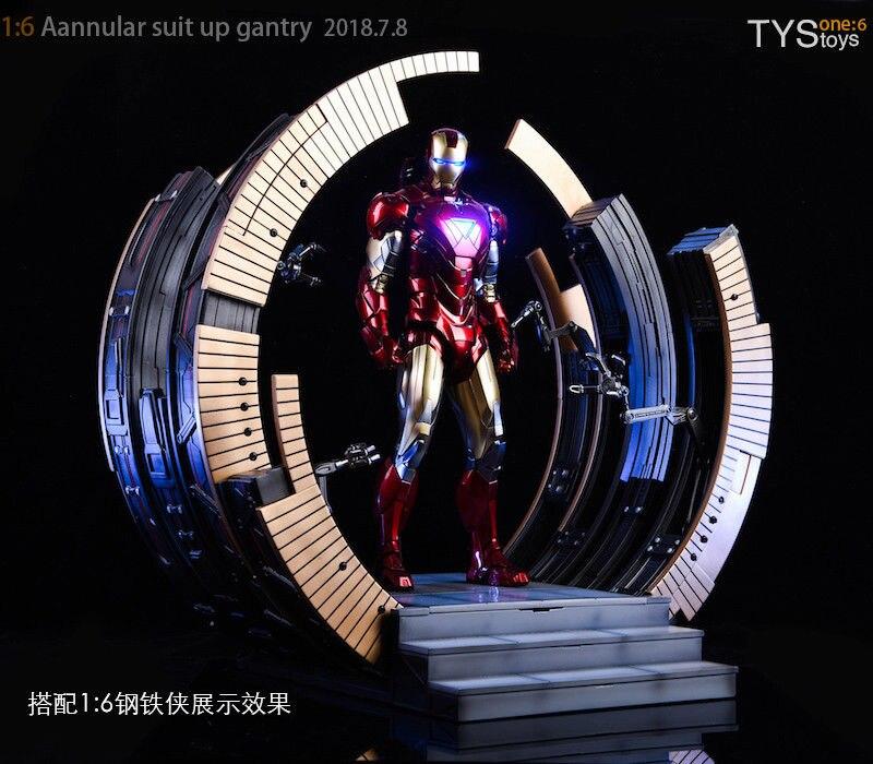 1/6 Escala figura de ação Cena acessórios Iron Man Mark VI Terno-Up Pórtico Estande F 12