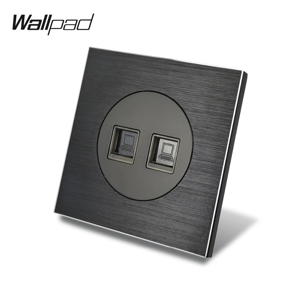 Wallpad L6 Black Satin Metal Double 2 x PC Data Ethernet Computer Wall Socket RJ45 Wiring Outlet Brushed Aluminum, 86 * 86 mmWallpad L6 Black Satin Metal Double 2 x PC Data Ethernet Computer Wall Socket RJ45 Wiring Outlet Brushed Aluminum, 86 * 86 mm