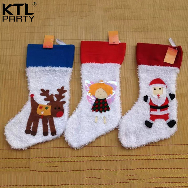 ktlparty 42cm18cm girls santa claus deer christmas stocking children gift bag - Girls Christmas Stocking