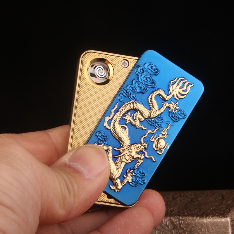 Chinese Dragon USB Electronic Cigarette Lighter Embossment Dragon Art Incline Press Sexy History and Culture Cigar