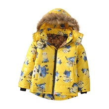 3-10Yrs boys winter coat Minions fur hooded Cartoon Baby Boys Winter jacket full Sleeves jacket for boy black red