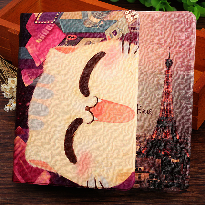 Fashion Painted Flip PU Leather For Samsung Galaxy Tab 2 10.1 P5100 P5110 P7500 P7510 Smart Case Cover + pen + Film