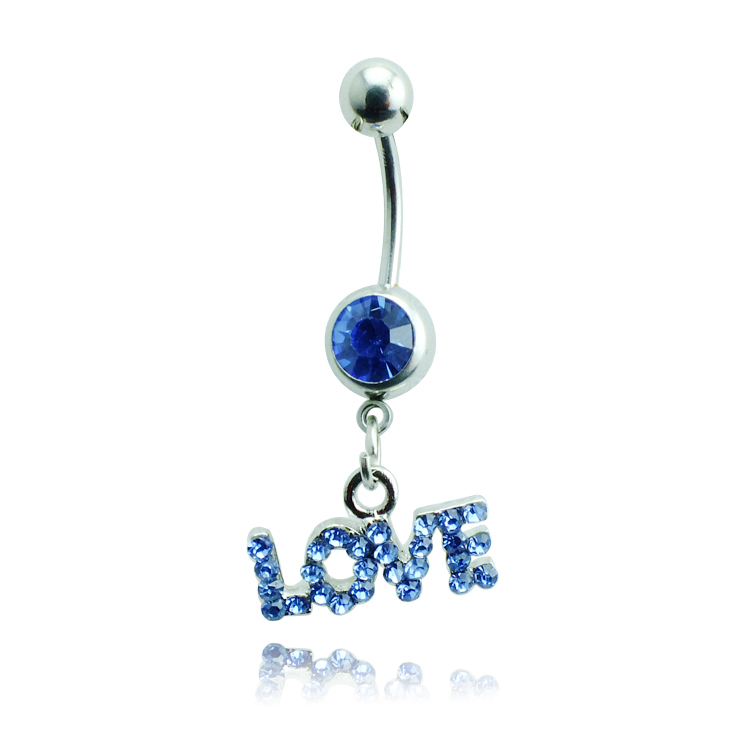 Body Jewelry Fashion Belly Button Rings 316L Stainless Steel Barbells Dangle Rhinestone Letter LOVE Navel Piercing Rings