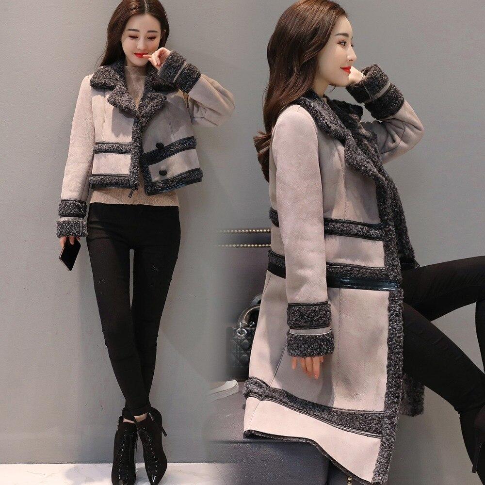 Модная замшевая куртка, Женское пальто, съемная Вельветовая длинная куртка, элегантная тонкая утепленная куртка размера плюс, зимняя куртка с длинным рукавом Q633 - 3