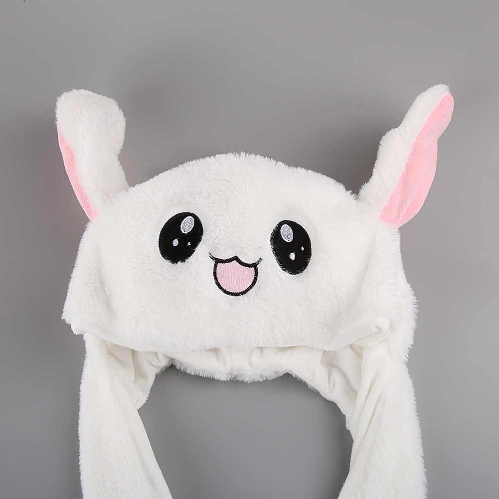 2019 新冬かわいい漫画のウサギの耳介帽子女の子フランネル空気バッグ耳のキャップおもちゃ