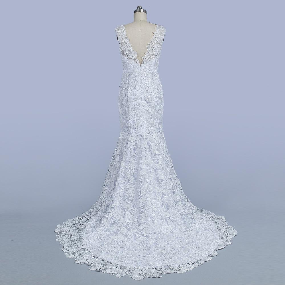 Mode Kant Zeemeermin Trouwjurken Mouwloze V-hals Bruids Feestjurk - Trouwjurken - Foto 5