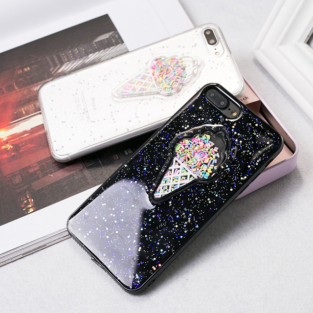 pretty nice 3cdf9 1fc30 US $3.36 8% OFF Colorful Summer Ice Cream Phone Case For iPhone 6 Gloss  Bright Glitter Powder TPU Soft Silicon Cover Coque For iPhone 6 6s 7Plus-in  ...