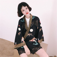 2017 Japanese Style Street Funny Tiger Cardigan Kimono Sunscreen Jackets Men and Women Shirts
