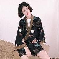 2017 Style Japonais Rue Drôle Tigre Cardigan Kimono Solaire Vestes Hommes et Femmes Chemises